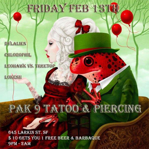 Friday the 13th and Birthday celebrations @ Pak9 Tattoo & Piercing (San Francisco) Friday Feb. 13th